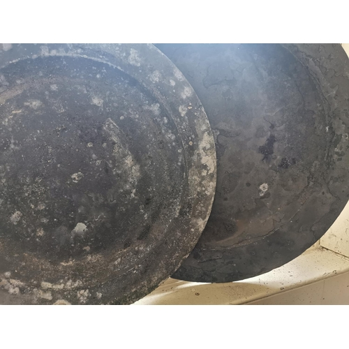 17 - Collection of five 18th. C. pewter platters { 42cm Dia approx. }.