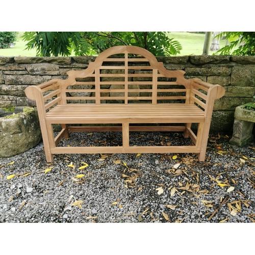 2 - Good quality Lutyens teak garden bench {104 cm H x 165 cm W x 62 cm D}.