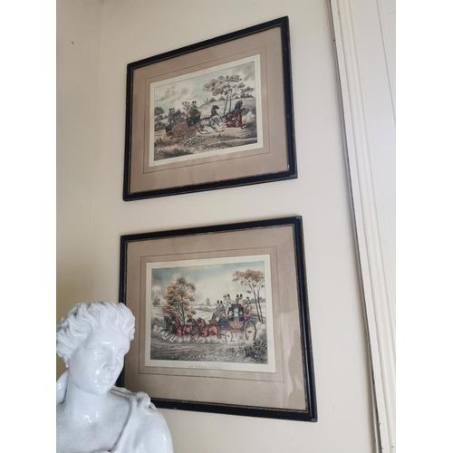 21 - Set of four 19th. C. coloured coaching prints { Each 54cm H X 63cm W }.