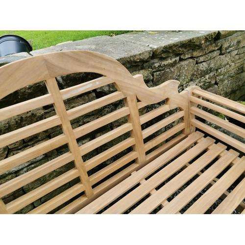 3 - Good quality Lutyens teak garden bench {104 cm H x 165 cm W x 62 cm D}.