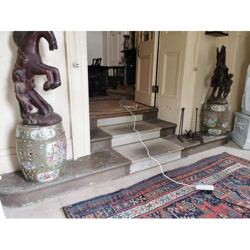 30 - Pair of 19th. C. Oriental ceramic conservatory stools, with damage. { 47cm H X 31cm W }.