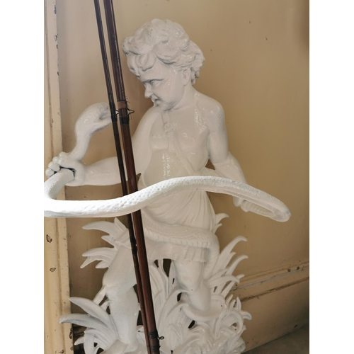 38 - Cast Iron stick stand depicting a boy and snake { 83cm H X 43cm W X 26cm D  }.