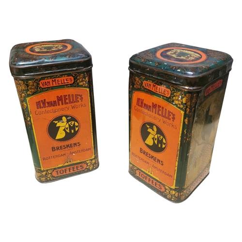 10 - Pair of early 20th C. Sweet tins. Vam Mells Toffees {Each 30cm H x 16cm Sq.}