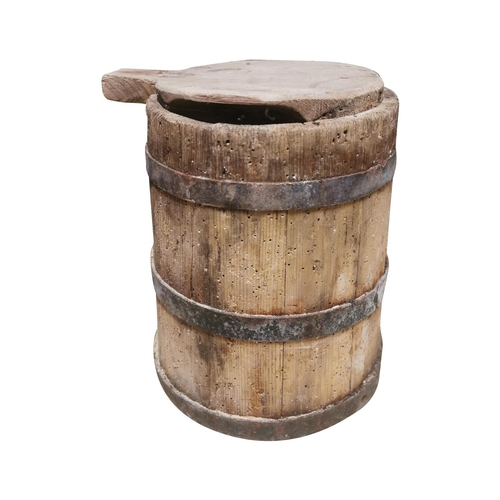 12 - 19th C. Pine metal bound butter tub. {33cm H x 25cm Dia.}