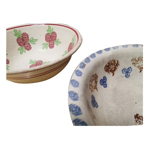 14 - Two early 20th C. spongeware bowls decorated with flowers {each 12cm H x 34cm Dia.}