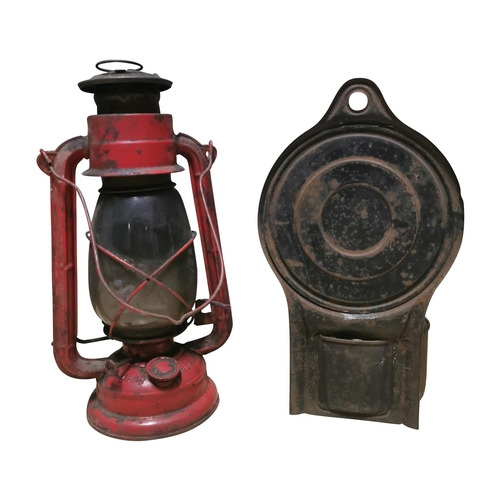 15 - Early 20th C. tin hurricane lamp {33cm H} and early 20th C. wall lamp {30cm H}