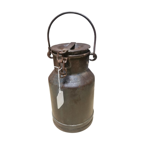 20 - Early 20th C. metal milk can with handle {40cm H x 20cm Dia.}
