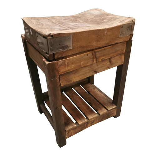21 - Pine butchers block on stand {86cm H x 62cm W x 51cm D}