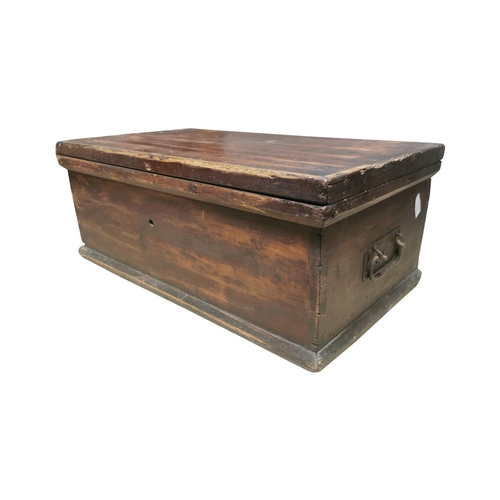 22 - Early 20th C. painted pine trunk with metal handles {25cm H x 64cm W x 36cm D}