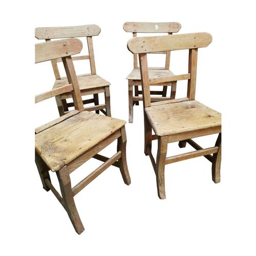 3 - Set of six 19th C. carpenters chairs {each 85cm H x 46cm W x 42cm D}