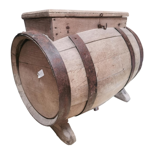 35 - Early 20th C. Oak metal bound table churn {47cm H x 80cm W x 30cm D}