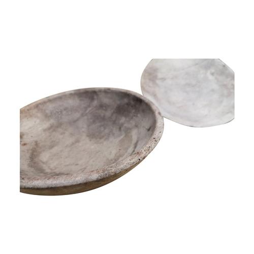 44 - Two 19th C. pine butter bowls {4cm H x 24cm Dia + 10cm H x 27cm Dia.}