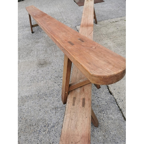 45A - Pair of 19th C. fruit wood benches on sqaure legs {46 cm H x 280 cm W x 30 cm D}.