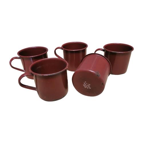 48 - Set of five early 20th C. enamel army mugs {9cm H x 13cm Dia.}