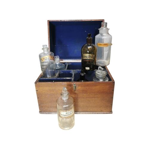 49 - 19th C. Oak apothecary box complete with bottles {33cm H x 39cm w x 30cm D}