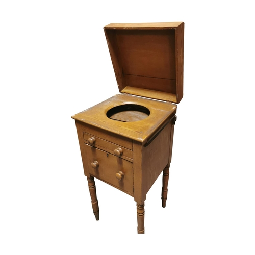 5 - 19th C. Scumbled pine bedside cabinet with single short drawer over single door raised on turned leg...