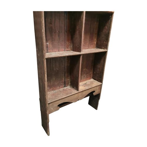 52 - Set of 19th C. Irish painted pine freestanding shelves with carved frieze {211cm H x 101cm W x 24cm ...