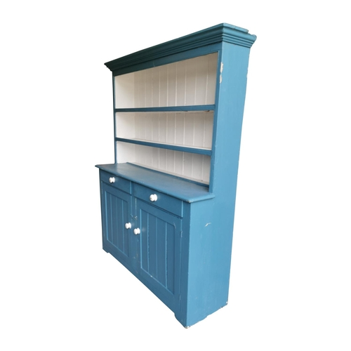 56 - Painted pine dresser - The super structure with two shelves over bread board above two short drawers...