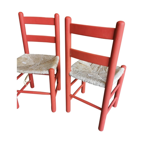 57 - Pair of painted pine sugan chairs with rattan seats {Each 85cm H x 43cm W x 40cm D}