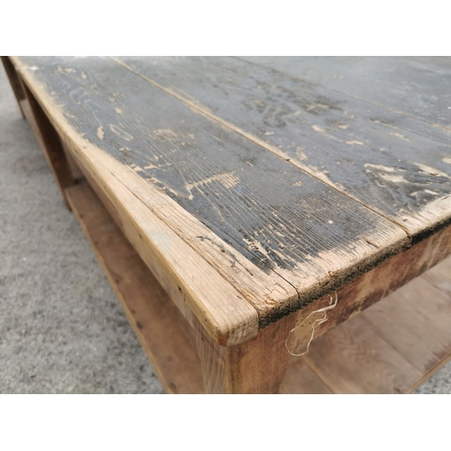 5A - 19th C. pine kitchen table on six square tappered legs and platform base {74 cm H x 280 cm L x 100 c...