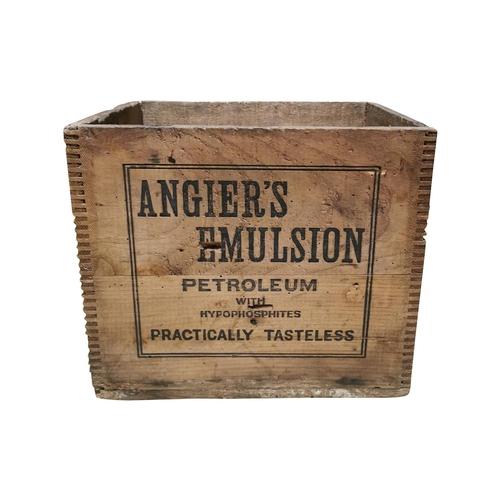 6 - Early 20th C. pine advertising box - Angier's Emulsion Petroleum {28cm H x 33xcm W x 27cm D}