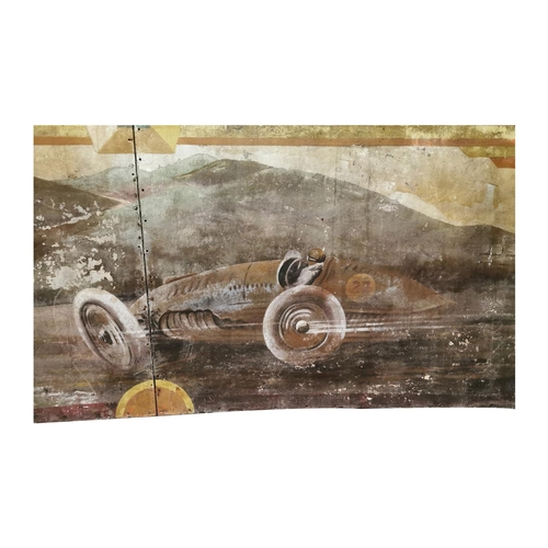 8 - Rare early 20th C. hand painted fairground panel. Decorated with racing cars {90cm H x 304cm L}