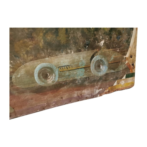 9 - Rare early 20th C. hand painted fairground panel. Decorated with racing cars {90cm H x 304cm L}