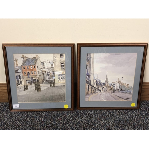 10 - Jim Steele 87, Pair of Inverness Street Scene watercolours...