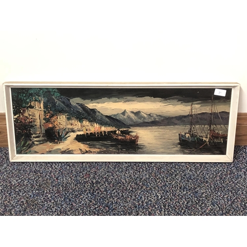 13 - Unknown unsigned oil on wood, Harbour and fishing boats...