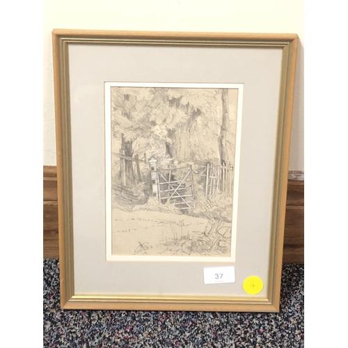 24 - Boyd, Pencil sketching Woodland Gate...