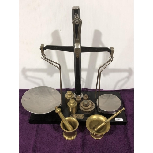 49 - Set of large Avery scales Reg Number 816264, with weights, 2 x Brass bowls and mixers, good conditio...