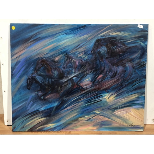 16 - Kirsten Harris Art, large Horses canvas painting, dimensions of canvas are 100 cm wide x 80 cm tall...