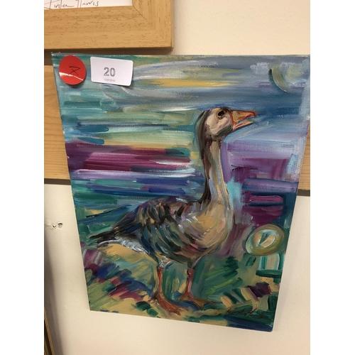 20 - Kirsten Harris small duck canvas painting...