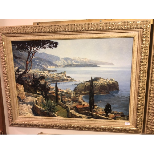28 - E M Merker, Large framed picture of Amalfi Coast...