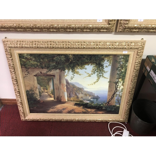 30 - E M Merker Large framed picture of Amalfi coast...