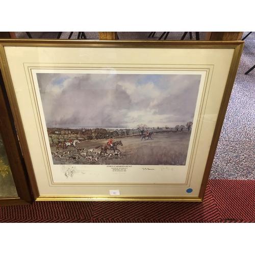 31 - large signed Essex farm hunt print dated 1981...