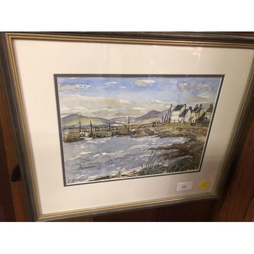 38 - Unknown artist 1991 watercolour Harbour Scene...