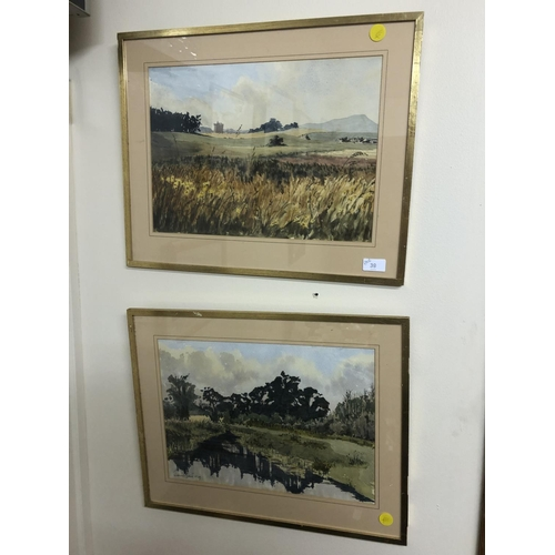39 - James Grant 1979 pair of watercolours country scene...