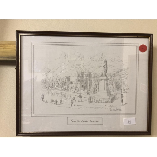 41 - drawing of Inverness from the Castle, by David Hawler...
