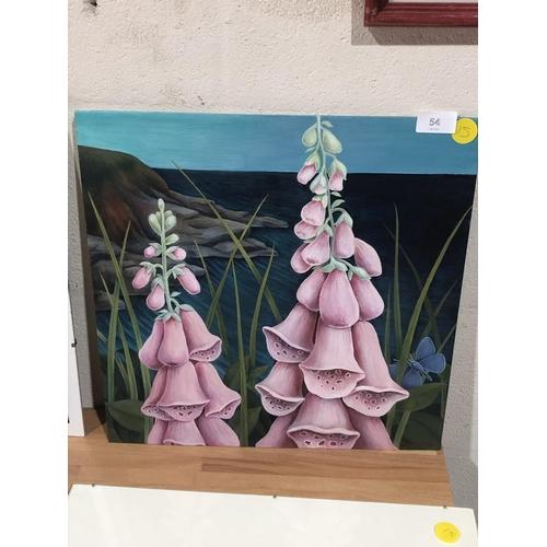 54 - painting of hollyhocks, Pru Bucknall...