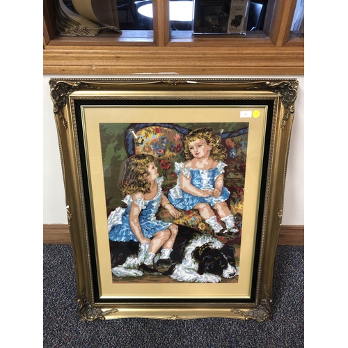 4 - Large framed tapestry...