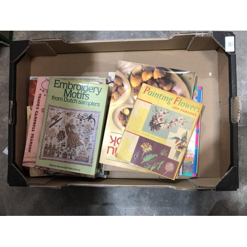 39 - box of books, embroidery, cooking, painting and more...