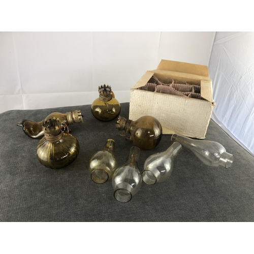 58 - Glass oil lamps & box of oil lamp glass covers...