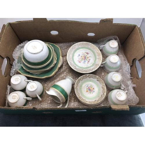 21 - box argyle tea set and grovsner tea set...