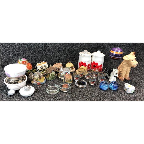 2 - Large box of assorted ceramics and pottery including selection of ceramic cottages...