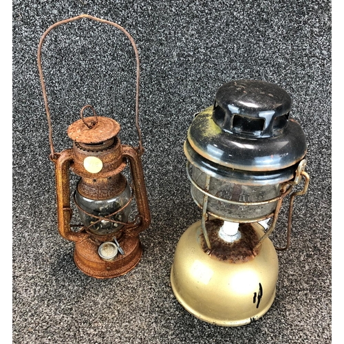 35 - Vintage oil fired lantern made by 'Pyrex' and smaller oil lantern with no distinguishing markings, P...