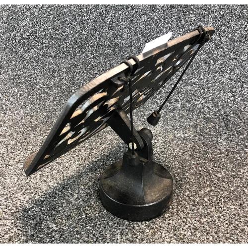 22 - Small ornate metal tabletop lectern...