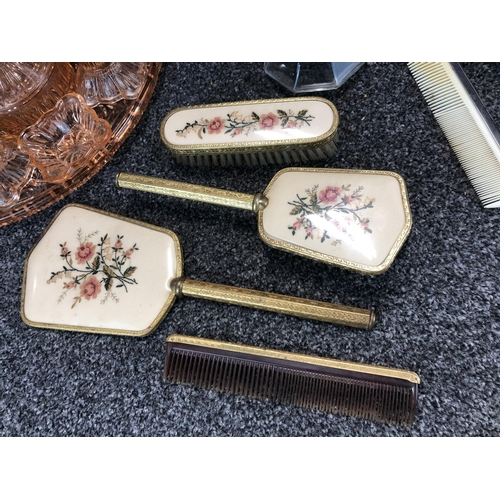 6 - Box of vintage ladies dressing table items  includes  depression glass...