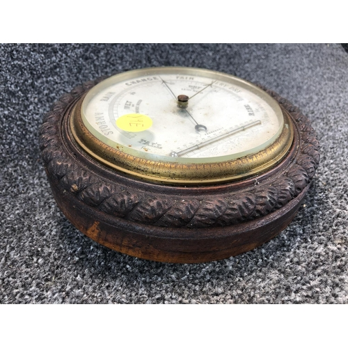 7 - Wooden framed old barometer 22cm diameter...