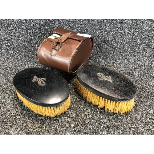 8 - Vintage Pair of 'Austin Reed Ltd.' Pig bristle hair brushes with silver motif badge in leather case....